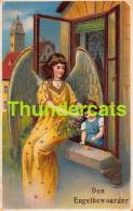 CPA EN RELIEF GAUFREE ANGE FILLE  EMBOSSED CARD GUARDIEN ANGEL GIRL SB ( PLI D'ANGLE - CORNER CREASES ) - Anges