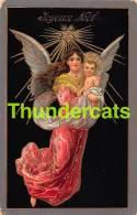 CPA EN RELIEF GAUFREE ANGE FILLE  EMBOSSED CARD GUARDIEN ANGEL GIRL  ( PLI D'ANGLE - CORNER CREASES ) - Anges
