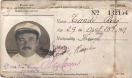 Le Havre  New York  1917  Carte  De Marin étranger, Service De L'immigration  RARE - Vieux Papiers