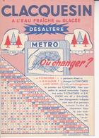 Au Plus Rapide Plan Métro Paris Publicité Apéritif Clacquesin Excellent état - Europe