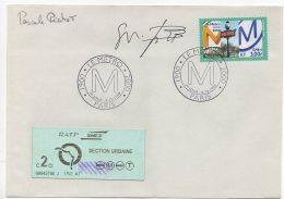 """1999 - Timbre """"Le Métro"""" - Héliogravure, Dessiné Par Pascale PICHOT - Signature De L'auteur + Ticket De Métro - 1990-1999"""