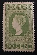 1913 Jubileumzegels 50c.geelgroen NVPH 97*) - Periode 1891-1948 (Wilhelmina)