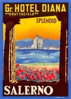 """D7826 """" GRAND HOTEL DIANA  - GRATTACIELO - SPLENDID - SALERNO """" ETICHETTA ORIGINALE - ORIGINAL LABEL - - Adesivi Di Alberghi"""