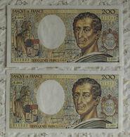 Billet Banque De France Suite 200 Francs Montesquieu 1989 B.068 N°511522/23. - 1962-1997 ''Francs''