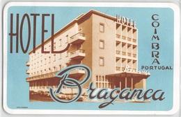 """D7830 """" HOTEL  BRAGANCA - COIMBRA - PORTOGALLO """" ETICHETTA ORIGINALE - ORIGINAL LABEL - - Adesivi Di Alberghi"""