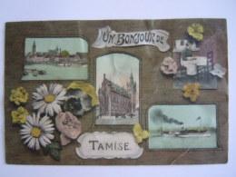Temse Temsche Tamise Un Bonjour De Multi-view Kaart Is Geplooid Zie Photo Gelopen 1911 E.D.I. - Temse
