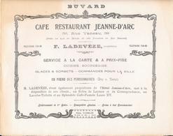 Buvard Années 1900 CAFE RESTAURANT HOTEL JEANNE D'ARC Rue Vanneau Paris - F.LADEVEZE Propriétaire -Imp GABLIN Paris - J