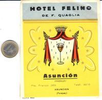 ETIQUETA DE HOTEL  -HOTEL FELINO  - ASUNCION -PARAGUAY - Hotel Labels