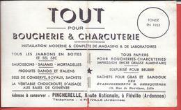 Buvard Ancien PINCHERELLE Route Nationale à FLEVILLE (Ardennes) TOUT Pour BOUCHERIE CHARCUTERIE (buvard 2e Choix) - P
