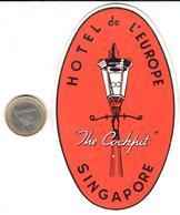 ETIQUETA DE HOTEL   -HOTEL DE L'EUROPE  -SINGAPORE  -ASIA - Hotel Labels