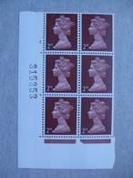 GB Machin Pre-decimal Cylinder Block X 6 MNH - 2d 5 No Dot - Blocs-feuillets