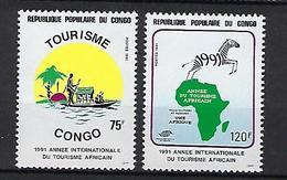 """Congo YT 889 & 890 """" Tourisme Africain """" 1991 Neuf** - Congo - Brazzaville"""