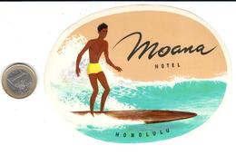 ETIQUETA DE HOTEL    -MOANA HOTEL  -HONOLULU  -HAWAI - Hotel Labels