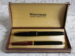 Deux Stylos Plume Waterman Super Cartouche Dans écrin Carton. - Schrijfgerief