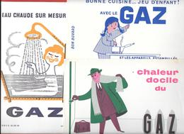 3 Buvards Anciens GAZ - FEMME, HOMME,ENFANT -  CHALEUR ET EAU CHAUDE Illustrés Par FIX-MASSEAU Et LEO KOUPER - Elektrizität & Gas