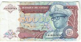 Billet. Banque Du Zaïre. 50.000. Cinquante Mille Zaïres. 24.4.91. - Zaïre