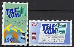 "Congo YT 905 & 906 "" Télécommunications "" 1991 Neuf** - Congo - Brazzaville"