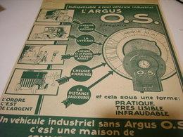 ANCIENNE PUBLICITE ARGUS  O.S  POUR AUTOMOBILE 1912 - Voitures