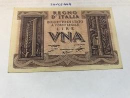 Italy Uncirculated Banknote 1 Lira - [ 1] …-1946 : Koninkrijk