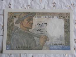 Banque De France 10 Francs Mineur 1949 N°27022 S.198. - 1871-1952 Anciens Francs Circulés Au XXème