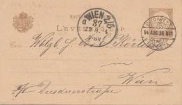 UNGARN 1886 - ? Ganzsache Auf Pk Gel.v.Budapest > Wien - Ganzsachen