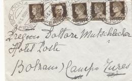ITALIEN 1939 - 5 Fach Frankierung Auf Brief Gel.v. Bologna > Bolzano - Ganzsachen