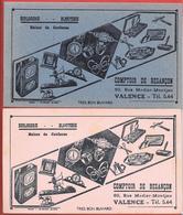 2 Buvards Anciens - HORLOGERIE -BIJOUTERIE COMPTOIR DE BESANCON à VALENCE (Drôme) Illustrations, Montres, Réveils.bijoux - Buvards, Protège-cahiers Illustrés