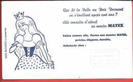 Buvard Ancien -HORLOGERIE M.FROMENT à REIMS - MARQUE MATEX  La Belle Au Bois Dormant Consulta Sa Montre MATEX Illustré - Buvards, Protège-cahiers Illustrés