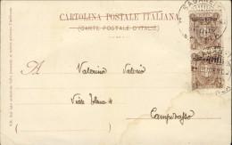 1902--Eritrea Annullo Sagaineti Eritrea Su Cartolina Forte Toselli (piega Centrale) Affr. Coppia 1c. Soprastampato (un E - Eritrea