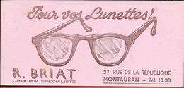 Buvard Ancien LUNETTERIE - R.BRIAT OPTICIEN SPECIALISTE à MONTAUBAN - Illustration De Lunettes - Buvards, Protège-cahiers Illustrés