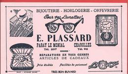 """Buvard Ancien BIJOUTERIE-HORLOGERIE-ORFEVRERIE - LUNETTES """" E. PLASSARD"""" PARAY LE MONIAL - CHAROLLES Illustré - Buvards, Protège-cahiers Illustrés"""