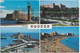 RHODES, Multi View, 1989 Used Postcard [21185] - Greece