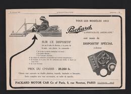 Pub Papier 1913 Automobiles PACKARD Voiture Automobile Tacot Atelier à Levallois Perret - Advertising