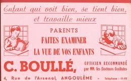"""Buvard Ancien OPTICIEN RECOMMANDE """" C.BOULE"""" à ANGOULEME - Enfant Qui Voit Bien, Travaille Mieux - Illustration - Buvards, Protège-cahiers Illustrés"""