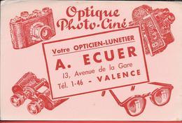 Buvard Ancien OPTIQUE PHOTO -CINE A.ECUER à VALENCE  - Illustration Appareil Photo, Camera, Jumelles, Lunettes. - Blotters