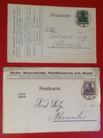 2 AK Firmenpostkarten Nordhausen Harz Gebr. Barenholz Garne Nähseiden Wollwaren 1919, 1920 - Nordhausen