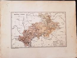 CARTE GEOGRAPHIQUE ANCIENNE: FRANCE: HAUTES ALPES (05) (garantie Authentique. Epoque 19 ème Siècle) - Cartes Géographiques