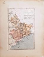 CARTE GEOGRAPHIQUE ANCIENNE: FRANCE: BASSES ALPES (06) (garantie Authentique. Epoque 19 ème Siècle) Alpes Maritimes - Carte Geographique