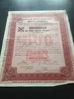 Société Metallurgique Donetz - Jourievka -  Obligation 500 Francs 1900 - Russie