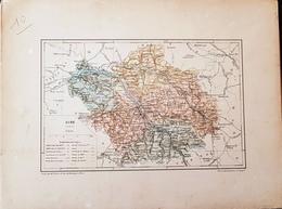 CARTE GEOGRAPHIQUE ANCIENNE: FRANCE: AUBE (10) (garantie Authentique. Epoque 19 ème Siècle) - Carte Geographique