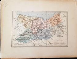 CARTE GEOGRAPHIQUE ANCIENNE: FRANCE: CALVADOS (14) (garantie Authentique. Epoque 19 ème Siècle) - Carte Geographique