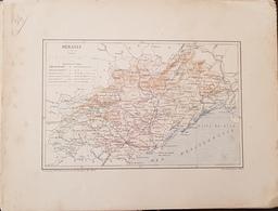CARTE GEOGRAPHIQUE ANCIENNE: FRANCE: HERAULT (34) (garantie Authentique. Epoque 19 ème Siècle) - Carte Geographique