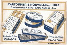 Buvard Ancien CARTONNERIE NOUVELLE DU JURA -Ets MENUTEAU à MARNOZ (JURA) Boîtes Rigides Pour Pharmacies GIMON,SINARD,GUE - Papeterie