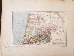 CARTE GEOGRAPHIQUE ANCIENNE: FRANCE: LANDES (40) (Garantie Authentique. Epoque 19 ème Siècle) - Carte Geographique