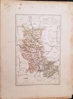 CARTE GEOGRAPHIQUE ANCIENNE: FRANCE: LOIRE (40) (Garantie Authentique. Epoque 19 ème Siècle) - Carte Geographique