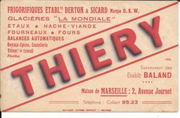 Buvard Ancien Industrie : THIERY FRIGORIFIQUES BERTON & SICARD Marque D.K.W. à MARSEILLE Succ De BALAND Buv SCHMITT à BE - Buvards, Protège-cahiers Illustrés