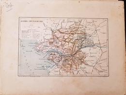 CARTE GEOGRAPHIQUE ANCIENNE: FRANCE: LOIRE INFERIEURE (44) (Garantie Authentique. Epoque 19 ème Siècle) Loire Atlantique - Carte Geographique