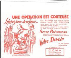 Buvard Ancien Assurance C.C.M.A -CAISSE CHIRURGICALE MUTUALISTE DE L'ALGERIE - Opération, Médecins, Infirmière, - Bank & Insurance