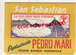 ESPAGNE- SAN SEBASTIAN- RESTAURANTE CASA PEDRO MARI-CALLE N° 9- CUISINE BASQUE ESPAGNOLE - PLAN TOURIST - Espagne