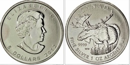 CANADA 2012 - 5 DOLARS DE PLATA - SILVER - AG- 1 OZ - CARIBU - ELAN - Canada